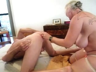 Fucking my hubby with a strap-on