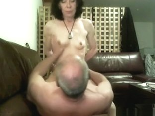 Mature woman has 69 and cowgirl sex with her man on the sofa