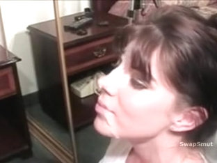 Messy face hole mum cook jerking and oral-sex