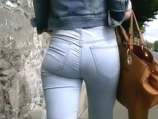 Girl in tight jeans pants and jacket