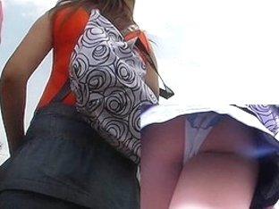 Lace panty upskirt hunt
