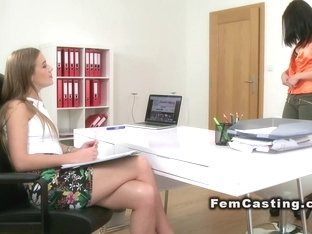 Lesbian casting with oral and finger sex