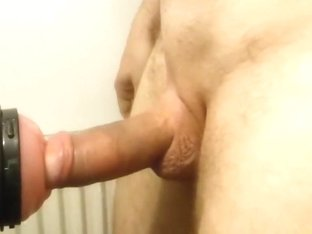 Fleshlight ruined orgasm shaved cock