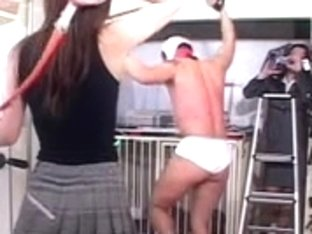 Japanese femdom bullwhip act