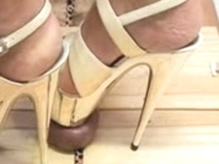 Golden Plateau Heels torturing penis