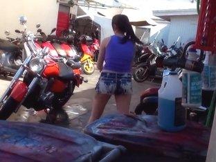 Bike loving Ashton Pierce shows her also undying love for huge cocks