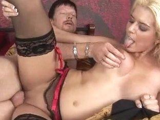 Busty blonde babe Kodi Gamble sucks and fucks a big cock dry