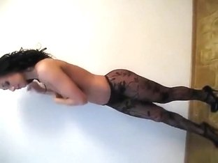 Posing in amazing black lingerie