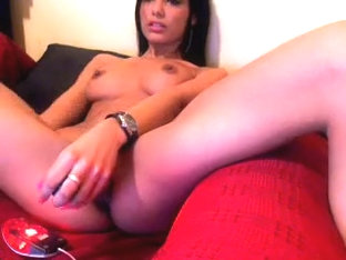Concupiscent brunette fucks herself with her favorite sex toy