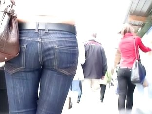 A horny voyeur follows a hot bitch in tight jeans and heels