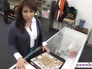 Busty wife gives BJ and gets banged in a pawnshop for cash