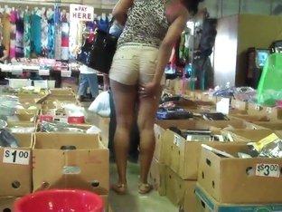 Ebony Babe Booty Shorts Teasing!