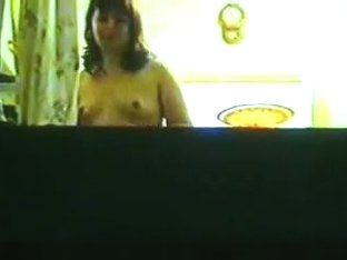 Topless Cute Girl caught in window