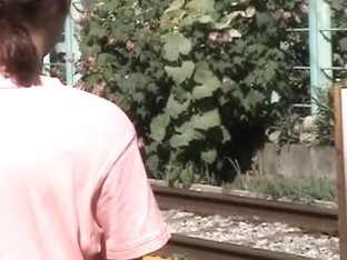 Wild public sharking video with mesmerizing little oriental angel