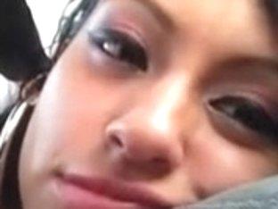 Latina teen slut gives a hot public blowjob in a car