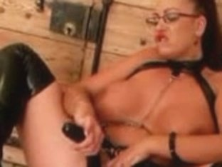 Lonely MILF masturbating with big sex toys and dildos
