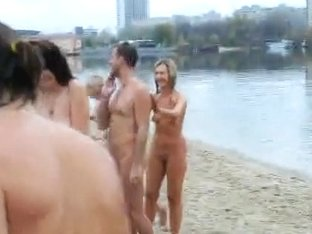 Group skinny dip shows naked boobs