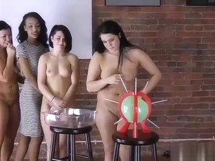 4 girls play a game of strip pop the balloon