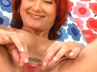 Redhead with great titts likes to stuff her cum-hole with a worthwhile sex-toy