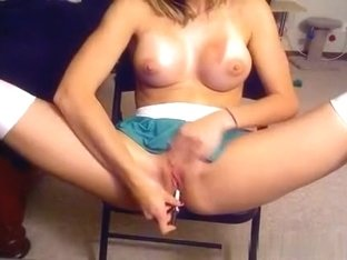 Hot cheerleader with big tits masturbates with a pencil for her bf