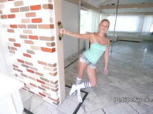 Petite pole dancer takes huge dick pov