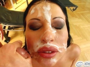 Cum For Cover Hot babe giving head to 5 guys