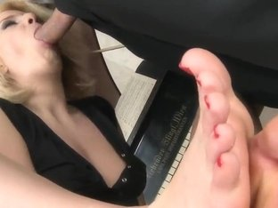 Blondie giving footjob before getting nailed