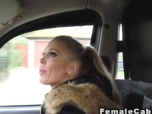 Wet lesbians licking in female fake taxi