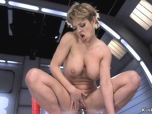 Milf rides monster dildos and machine