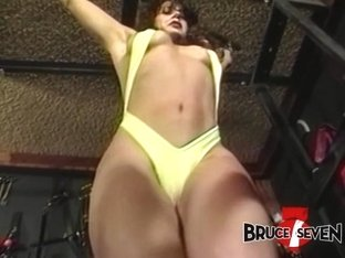 Stunning lesbian Bambi Love in BDSM whipping session