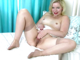 Blonde wanks in rare vintage bra garter belt and sexy nylons