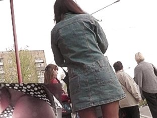 Cute upskirt angel in denim coat