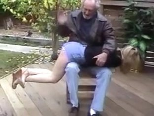 She is Spanked by a Old Man