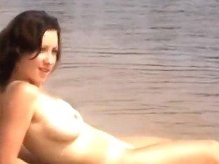 Big milk sacks stripped on the nudist beach