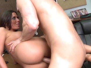 Pornstar fucking at sex shop