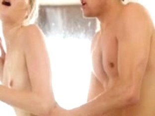 Young Blonde Seducing Guy In The Shower
