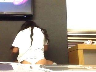 Sweet black juicy girl booty in white panties on cam