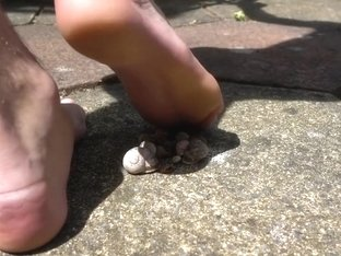 Barefoot mass snail crush candid - Big feet and soles