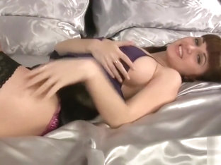 masturbating and playing in satin