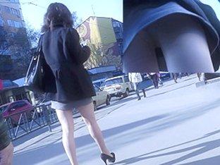 Hidden upskirt video presents sexy girl on high heels