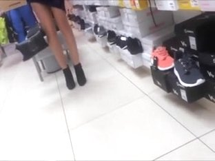 Sexy lady trying new shoes