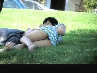 Asian woman upskirted in park