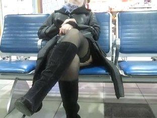 Stockings upskirt in airport 1