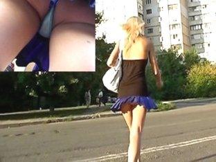 Hawt belt and cute ass peeping up petticoat