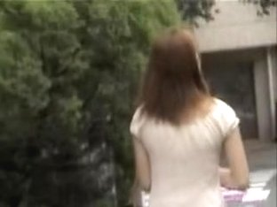 Beautiful Japanese brunette recorded with her skirt up