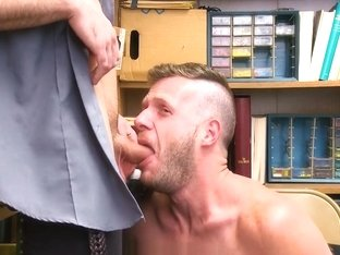 GayShoplifter - Shoplifting stud takes cock up his ass and down his throat