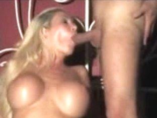 Blonde Italian tramp doing a nasty threesome scene