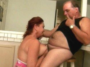 Breasty grandma sucks granddad's petite bushy strapon