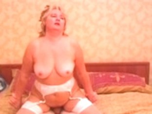 Older overweight russian lady in nylons & a juvenile stud