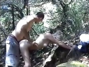 Fucking with my bf in the woods in blonde amateur clip